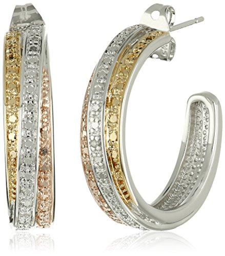 18k Yellow and Rose Gold-Plated Brass and Diamond C-Hoop Earrings