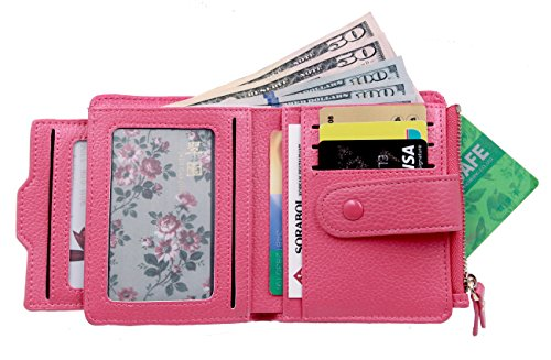 Women's Mini Soft Leather Wallet with ID Window Card Sleeve Bifold Wallet Coin Purse (Rose (Plenty Bi Fold Wallet)