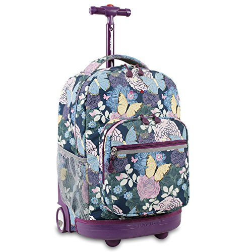 J World New York Sunrise Rolling Backpack, Secret Garden (Backpacks With Secret Pockets)