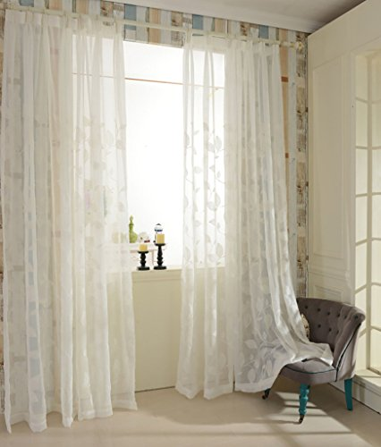 Wonderful YouYee Elegant Embroidery Solid White Sheer Window Curtains/Drapes/Panels/Treatments  60 X 84 ,For Living Room, Kitchen, Bedroom, Kids Rooms(2 Panels With ...