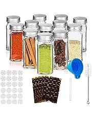 RUBY-Glazen Kruidenpotjesset met Deksel, 12PCS Vierkante Kruidenpotjesset, 120ml Transparante Glazen Spice Jars met Etiket, Trechter, Borstel, Pen