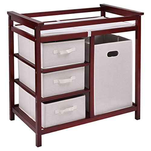 Costzon Baby Changing Table Basket Hamper Infant Diaper Nursery Station (Wine) by Costzon