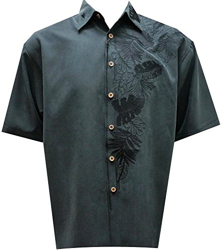 Bamboo Cay Men's Islan Leaf Nation, Tropical Style Embroidered Camp Shirt (2XL, Black) (Shirts Embroidered Signature)