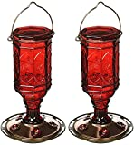 (2 Pack) More Birds Hummingbird Feeder Vintage Red Antique Glass Bottle, 20-Ounce Nectar Capacity Per Feeder