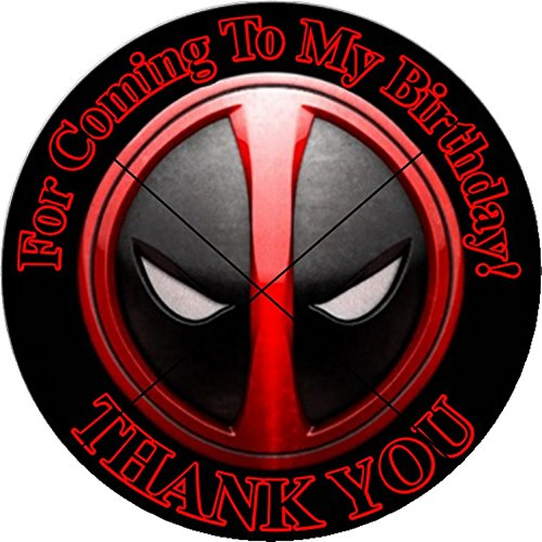12 DEADPOOL Superhero - Birthday Party Favor Stickers/Labels for Gift, Goody Treat Bag (2.5 inches circle stickers, bags not included) ()