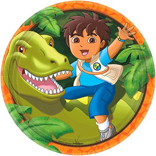 Amscan Diego's Biggest Rescue Birthday Party Round Lunch Plates, 9