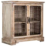 Cheap American Art Decor Rustic Shabby Chic Whitewashed Wood and Metal Standing Storage Cabinet with Shelves – Farmhouse Decor Furniture