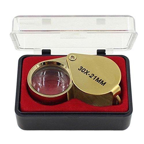 Folding Eye Loupe - Sikye Mini Folding Magnifier 30 x 21mm Pocket Magnifying Jeweler Eye Jewelry Loupe Gift (Gold)