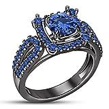 TVS-JEWELS Handmade Women's Silver 925 Black Plated round Cut Stone Wedding Anniversary Gems Ring (9.75)