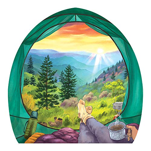 Sticker Art Great Smoky Mountains Camping Decal, Mountain Tough Outdoor Stickers, Waterproof Vinyl for Water Bottle, car Window, Jeep and Laptop. (Size 4.25