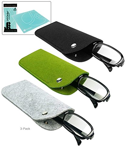 JAVOedge (3 PACK: Black, Gray, Green) Slip In Felt Pouch Eyeglass Case Snap Button Closure + Microfiber Cleaning Cloth