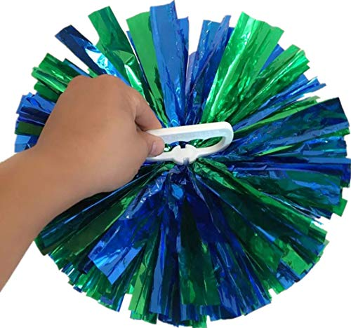 NNBX Pack of 2 Metallic Cheerleading Pom Pom with Handle Party Sports Dance Cheer Spirit Cheering Poms (Blue+Green)