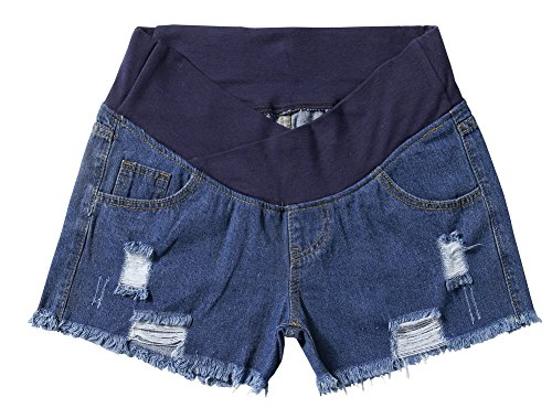 Foucome Women's Underbelly Wide Elastic Band Waist Maternity Shorts for Women Denim Blue by Foucome