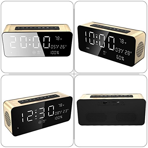 """Soundance 12W Wireless Radio Alarm Clock Bluetooth Speaker with HD Sound Digital 9.4"""" LED Display of Time/Date/Temperature, iPhone Android Aux MicroSD USB Support, Model A10 Gold with Wall Charger"""