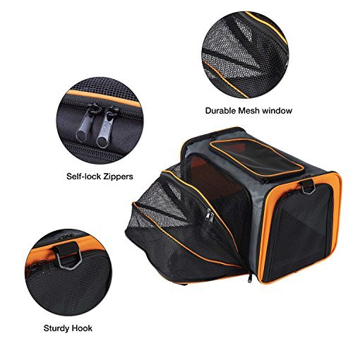 Pettom Expandable Foldable Pet Carrier Big Space Travel Handbag Soft-sided Bags for Dogs Cats and Other Animals(M, Orange) by Pettom (Image #3)