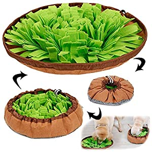 AWOOF Dog Puzzle Toys, Pet Snuffle Mat for Dogs, Interactive Feed Game for Boredom, Encourages Natural Foraging Skills for Cats Dogs Bowl Travel Use, Dog Treat Dispenser Indoor Outdoor Stress Relief 33