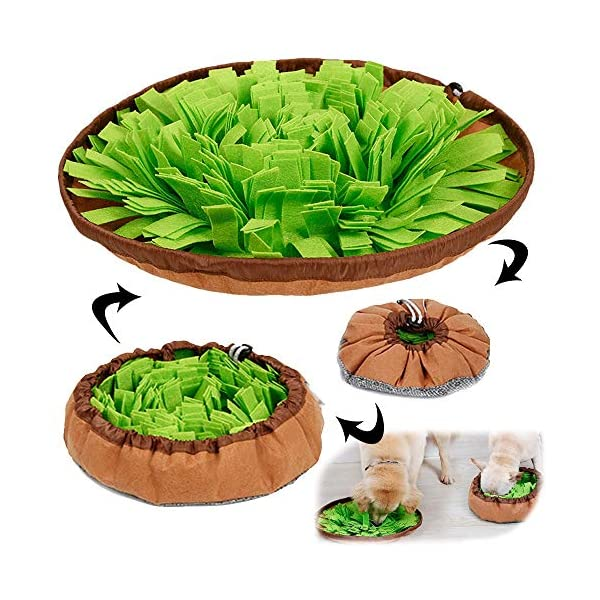 AWOOF Pet Snuffle Mat for Dogs, Interactive Feed Game for Boredom, Encourages Natural Foraging Skills for Cats Dogs Bowl…