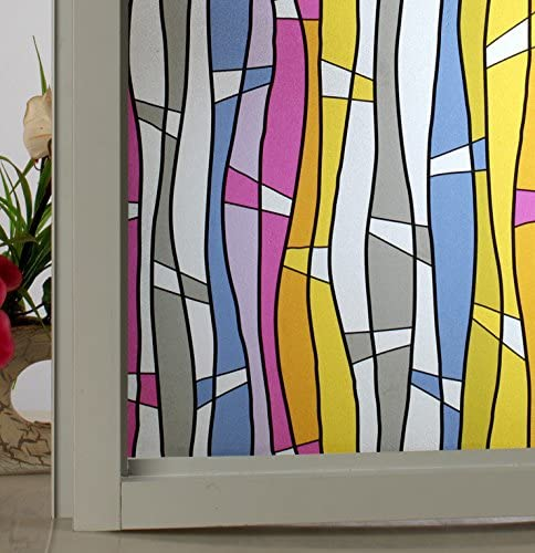 Leyden 3Ft X 6.5Ft. 90 x 200cm Waves Stripes Non-Adhesive Frosted Glass Window Films