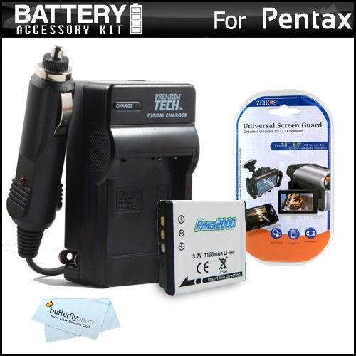 (Battery and Charger Kit for Pentax Q, Pentax Q10, Pentax Q7, Pentax Q-S1 Digital Camera Includes Extended Replacement (1100Mah) D-LI68 Battery + Ac/Dc Rapid Travel Charger + Microfiber Cloth + More)