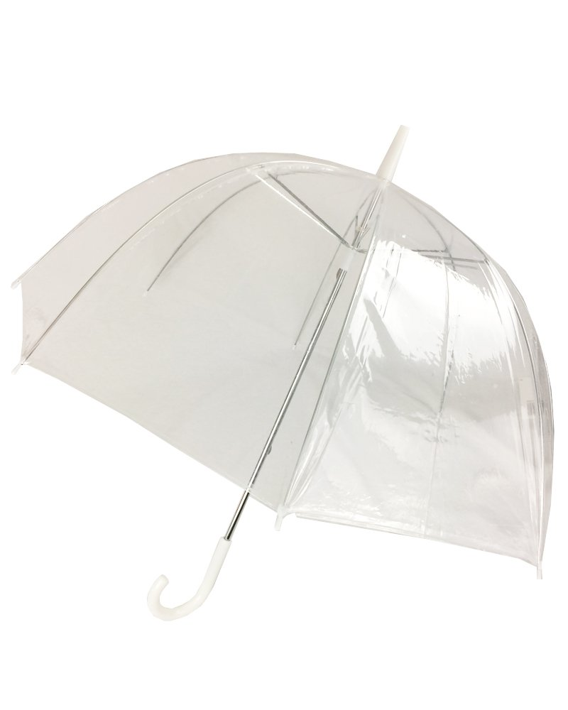 (6 Pack) 46'' Clear Bubble Umbrella Manual Open Fashion Dome Shaped European Hook Handle