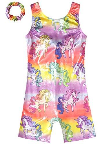 Shortalls Shorts - Unicorn Gymnastics Girl Leotards Sparkly Rainbow Shorts Biketards Shortall Shiny