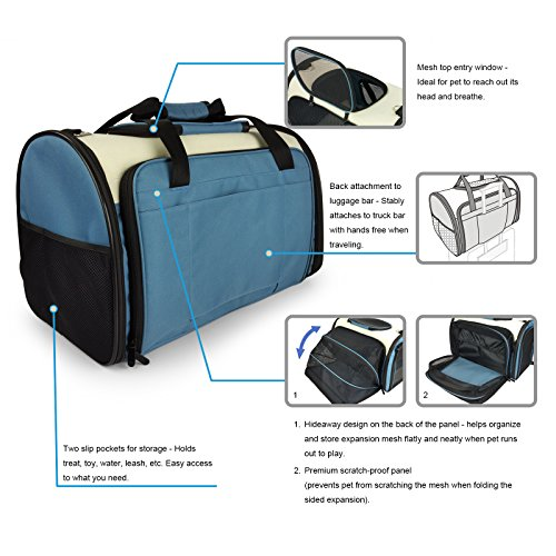 Becko Expandable Foldable Pet Carrier Travel Handbag with Padding and Extension (Blue) by Becko (Image #6)