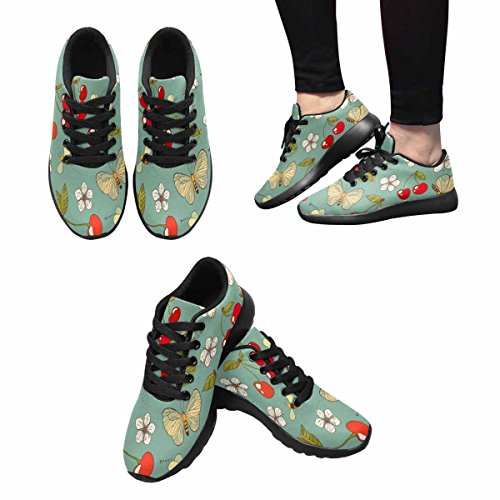 InterestPrint Womens Jogging Running Sneaker Lightweight Go Easy Walking Casual Comfort Running Shoes Summer Cherry, Bees, Butterfly and Flower Multi 1