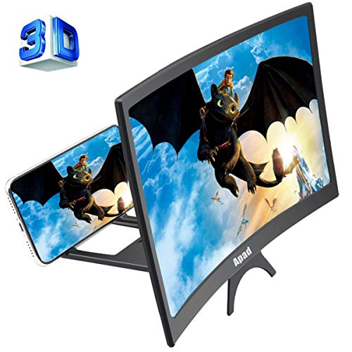 12'' 3D Curve Screen Magnifier for Cell Phone, HD Amplifier Projector Magnifing Screen Enlarger for Movies, Videos, and Gaming with Foldable Stand Compatible with All Smartphones (Black, 12 inch) (Mobile Accessories Phones)