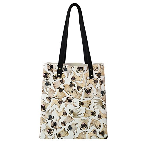 8 Cute Tote Shoulder Print Puzzle PU Instantarts Pug Women Fashion Leather Dog Bags 1dzqza7