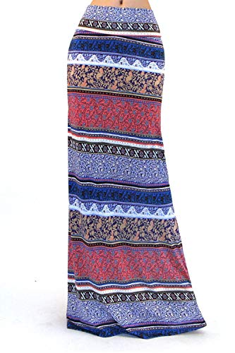 Blk Long Skirt - Vivicastle Women's Colorful Printed Fold Over Waist Long Maxi Skirt (Medium,EE17, blk/Multi)