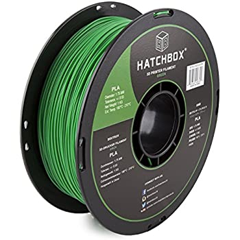 HATCHBOX 3D PLA-1KG1.75-GRN PLA 3D Printer Filament, Dimensional Accuracy +/- 0.03 mm, 1 kg Spool, 1.75 mm, Green