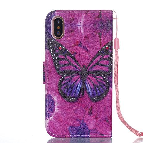 iPhone X Hülle Schwarzer Schmetterling PU Leder Wallet Handytasche Flip Etui Schutz Tasche mit Integrierten Card Kartensteckplätzen und Ständer Funktion Für Apple iPhone X / iPhone 10 (2017) 5.8 Zoll
