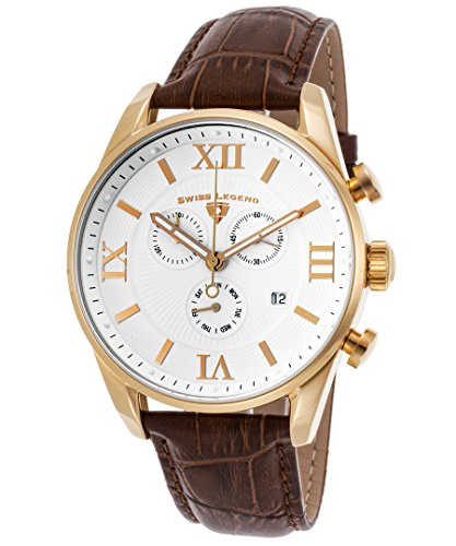 Swiss Legend Men's 'Bellezza' Swiss Quartz Stainless Steel and Leather Casual Watch, Color:Brown (Model: 22011-YG-02-BRN)
