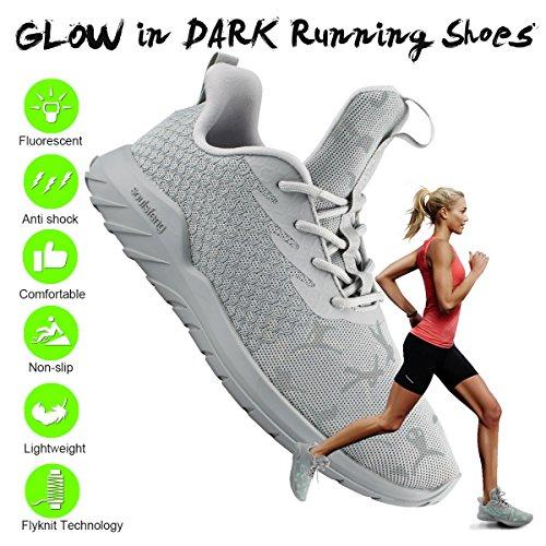 Laufschuhe für Frauen Männer, Flyknit Mode Turnschuhe Männer Frauen, leichte Schaumkissen Trail breite Herrenschuhe für Jungen Mädchen Damen Jugend Grau