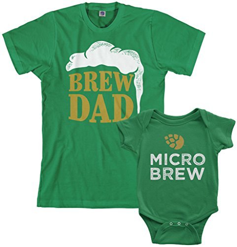 Threadrock Brew Dad & Micro Brew Infant Bodysuit & Men's T-Shirt Matching Set (Baby: 6M, Kelly Green Men's: XL, Kelly Green)