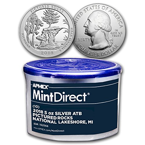 - 2018 5 oz Silver ATB Pictured Rocks (10-Coin MintDirect® Tube) Brilliant Uncirculated