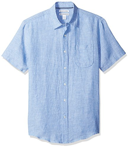 Amazon Essentials Men's Slim-Fit Short-Sleeve Linen Shirt, Blue, Large (Chest Linen)