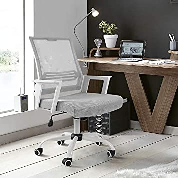 Devoko Mid Back Mesh Desk Chair Height Adjustable with Armrest Swivel Office Chair Lumbar Support Computer Chair White