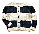 Betusline Kids Baby Boys Girls Cable Knitted Uniform Cardigan Button Sweater