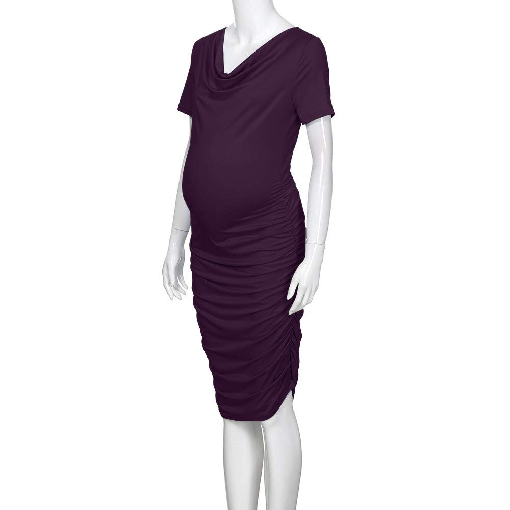 Shybuy Ruched Maternity Dress Maternity Dress Short Sleeve O-Neck Ruched Sides Knee Length Shirred Dress