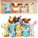 9PCS Sets Children Kids Gifts Presents Japanese Cartoon Pokemon Eevee Vaporeon/Jolteon/Flareon/Espeon/Umbreon/Leafeon/Glaceon/Sylveon Plush Toys Stuffed Dolls
