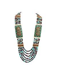Zephyrr Fashion Multi Strand Wooden Beaded Necklace Tibetan Handmade Jewellery for Girls and Women