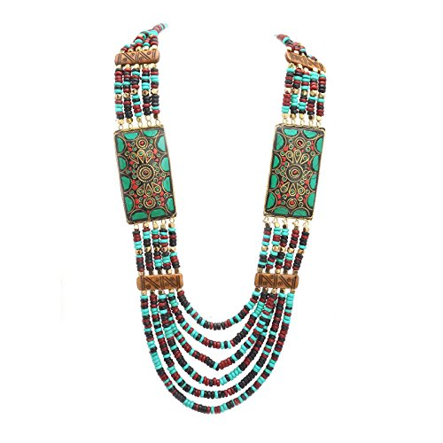 - Zephyrr Fashion Multi Strand Wooden Beaded Necklace Tibetan Handmade Jewellery for Girls and Women