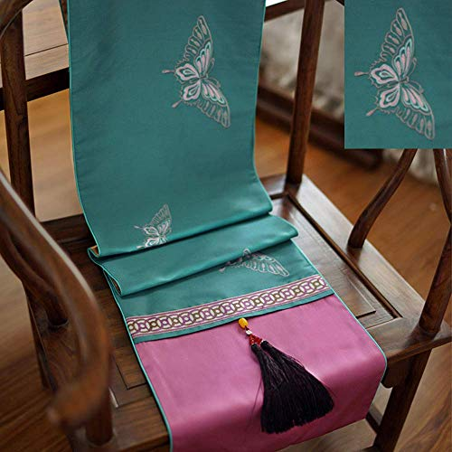 Giow Mantel de Sala de Caoba, Mesa de Comedor clasica Bordada, Mueble de TV, Tela de Mesa de cafe, Bandera de Cama (C; 33 * 180 cm)