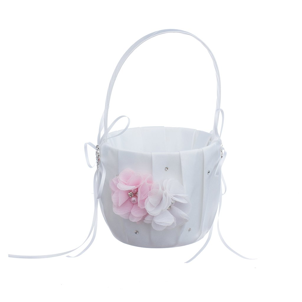 MagiDeal Romantic Wedding Party Bowknot Faux Pearl Flower Girl Basket With Heart Shape Decor - Pink