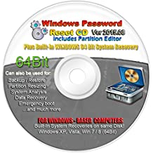 LATEST VERSION 2015.07 Recovery Boot Password Reset CD Plus for Windows XP, Vista, 7, 8 (All Versions of Windows)