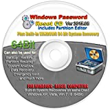NEW 64BIT WINDOWS Recovery Boot Password Reset CD Plus for Windows XP, Vista, 7, 8 (All Versions of Windows)
