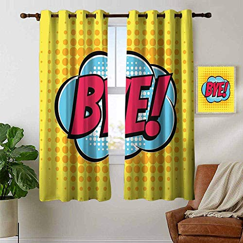 (petpany Customized Curtains Going Away Party,Comic Book Bubble Text Retro Style Bye Cartoon Design Art,Hot Pink Pale Blue Yellow,Blackout Draperies for Bedroom Living Room 42