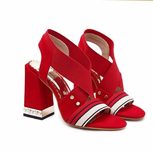 los Tacones Sandalias de Dedos pies de Damas la Talones Zapatos y Altos los los Boda Altos gules qFnxwvH