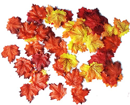 Darice 1620-100 Silk Screen Maple Leaves Party Supplies (50 Piece), Assorted colors